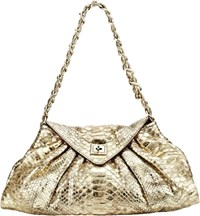 Zagliani Python Pleat Medium Shoulder Bag Gold
