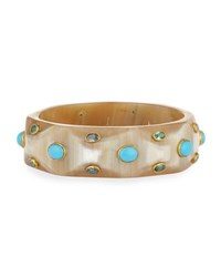 Ashley Pittman Tabaka Light Horn Bangle With Blue Spinel And Topaz Neutral Pattern