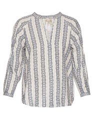Sea Striped Linen Long Sleeved Top Blue White