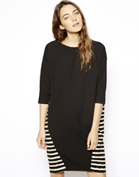 Asos Batwing Shift Dress With Stripe Back Black