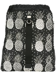 Dolce And Gabbana Pineapple Print Drawstring Backpack Black
