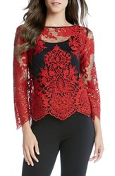 Karen Kane Women's Embroidered Lace Flare Sleeve Top