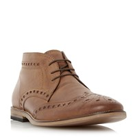 Linea Muddled Leather Brogue Boots Tan