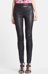 Emilio Pucci Lambskin Leather Leggings Black