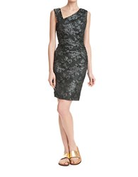 Tracy Reese Floral Printed Cocktail Dress Silver