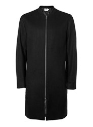 Topman Black Wool Mix Longline Bomber Jacket