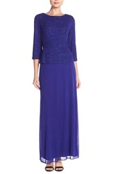 Women's Alex Evenings Jacquard And Chiffon Mock Two Piece Gown