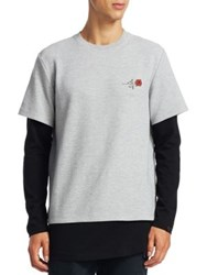 Saks Fifth Avenue X Anthony Davis Rose Embroidery Two Piece Tee Heather Grey
