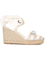 Salvatore Ferragamo Bow Detail Wedge Sandals Nude Neutrals
