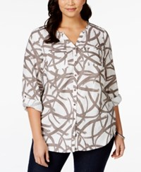 Jm Collection Woman Jm Collection Plus Size Linen Printed Shirt Only At Macy's