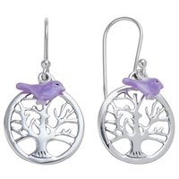 Martick Sterling Silver Tree Of Life Bird Earrings Purple