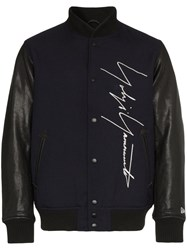 Yohji Yamamoto Logo Embroidered Wool Baseball Jacket Blue