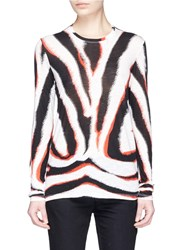 Proenza Schouler Zebra Print Tissue Jersey Long Sleeve T Shirt Multi Colour