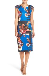 Eci Women's Print Scuba Midi Dress Blue