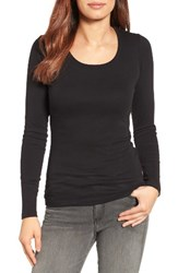 Caslonr Women's Caslon Long Sleeve Scoop Neck Cotton Tee Black