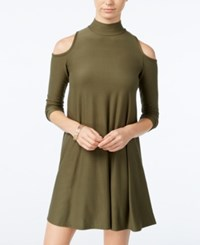 Planet Gold Juniors' Cold Shoulder Shift Dress Olive