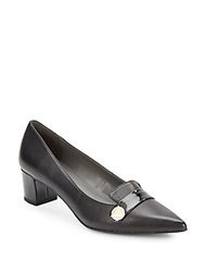 Ellen Tracy Emmie Leather And Patent Pumps Black