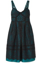 Draper James Betty Corded Lace And Duchesse Satin Midi Dress Teal