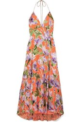 Alice Olivia Hetty Floral Print Flocked Satin Maxi Dress Coral