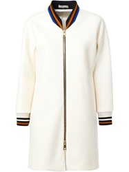 Bouchra Jarrar Long Bomber Coat White