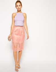 Asos Pencil Skirt With Sheer Layer And Floral Embroidery Pink