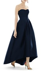 Alfred Sung Women's Strapless High Low Sateen Twill Gown Midnight