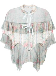 Anna Sui Sheer Floral Tulle Hem Blouse Nude And Neutrals