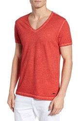 Boss Orange Men's 'Toulouse' V Neck T Shirt Red