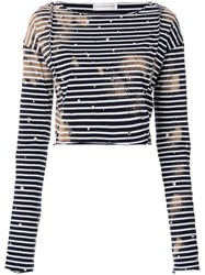 Faith Connexion Embroidered Striped Cropped Top Blue