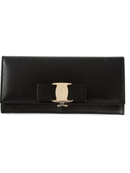 Salvatore Ferragamo Bow Wallet Black