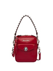 Miu Miu Bandoleer Crystal Embellished Bag Red
