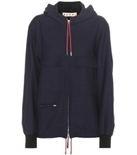 Marni Virgin Wool And Cotton Jacket Blue