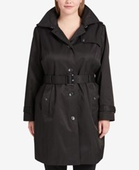 Dkny Plus Size Belted Trench Coat Black