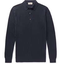 John Smedley Medley Lanlay Cotton And Cahmere Blend Polo Hirt Navy