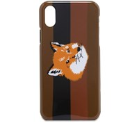 Maison Kitsune Stripes Fox Head Iphone X Case Brown