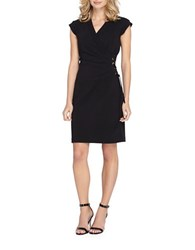 Tahari By Arthur S. Levine V Neck Short Sleeve Dress Black