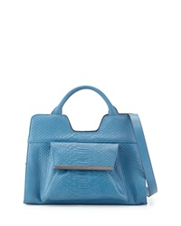 Christian Lacroix Bolaria Snake Embossed Satchel Blue