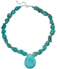 Macy's Manufactured Turquoise Pendant Necklace In Sterling Silver 550 Ct. T.W.