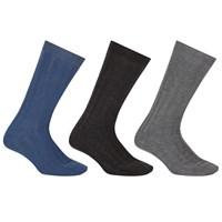John Lewis Kin By Textured Square Socks One Size Pack Of 3 Blue Black Grey