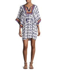 Tory Burch Beetle Bug Embroidered Coverup Tunic White