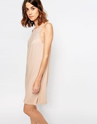 Vila Lace Insert Cami Dress Rugby Tan Brown
