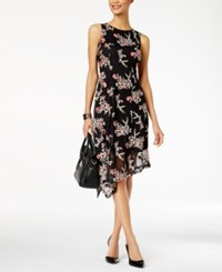 Alfani Petite Floral Embroidered Fit And Flare Dress Created For Macy's Deep Black