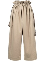 Astraet Loose Fit Cropped Trousers Women Polyester 1 Brown