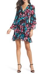 Charles Henry Wrap Tiered Sleeve Dress Black Floral