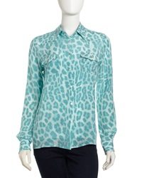 My Tribe Leopard Print Silk Blouse Blue