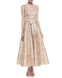 Aidan Mattox Sleeveless Lace Tea Length Dress Rose Gold