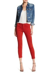J Brand Anja Mid Rise Cuffed Cropped Pant Red