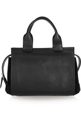 Emilio Pucci Suede Paneled Textured Leather Tote Black