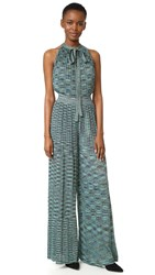 M Missoni Cross Back Jumpsuit Teal