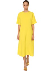 Rochas Light Wool Canvas Midi Dress Yellow